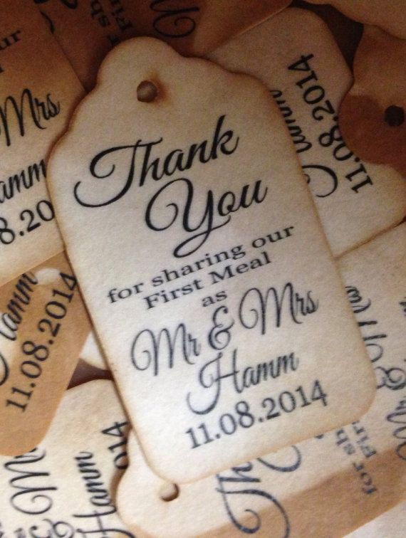 Thank you for sharing our first meal as a married couple Personalized Tea Stained or White Card stock Favor Tag sets of 50 Tags MEDIUM