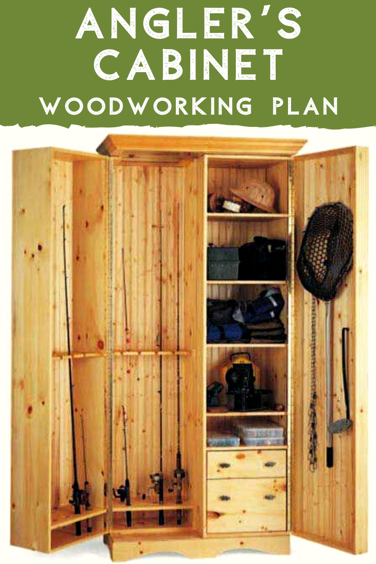 An Angler S Cabinet Downloadable Plan Cabinet Plans Fishing Rod Storage Fishing Room