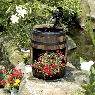 Charmant Solar Powered Wooden Barrel With Pump And Planter Garden Water Feature With  LED