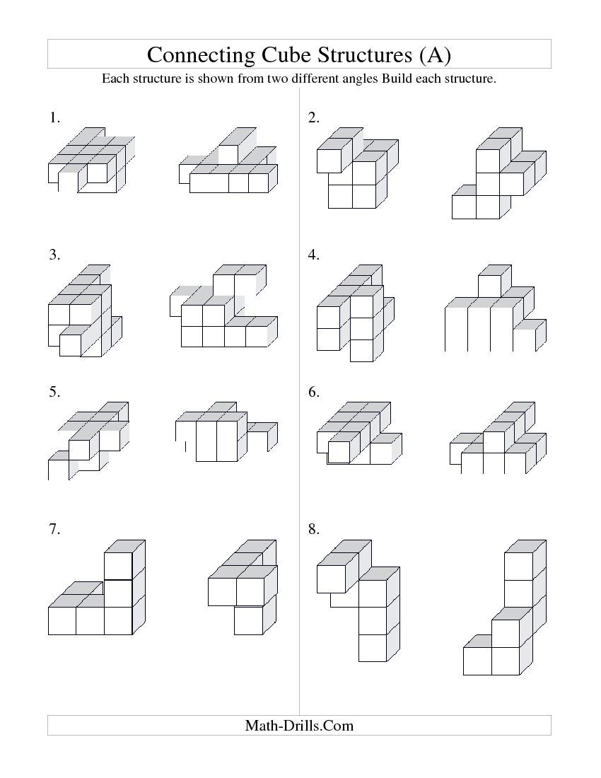 Building Connecting Cube Structures A Geometry Worksheet [ 1100 x 850 Pixel ]