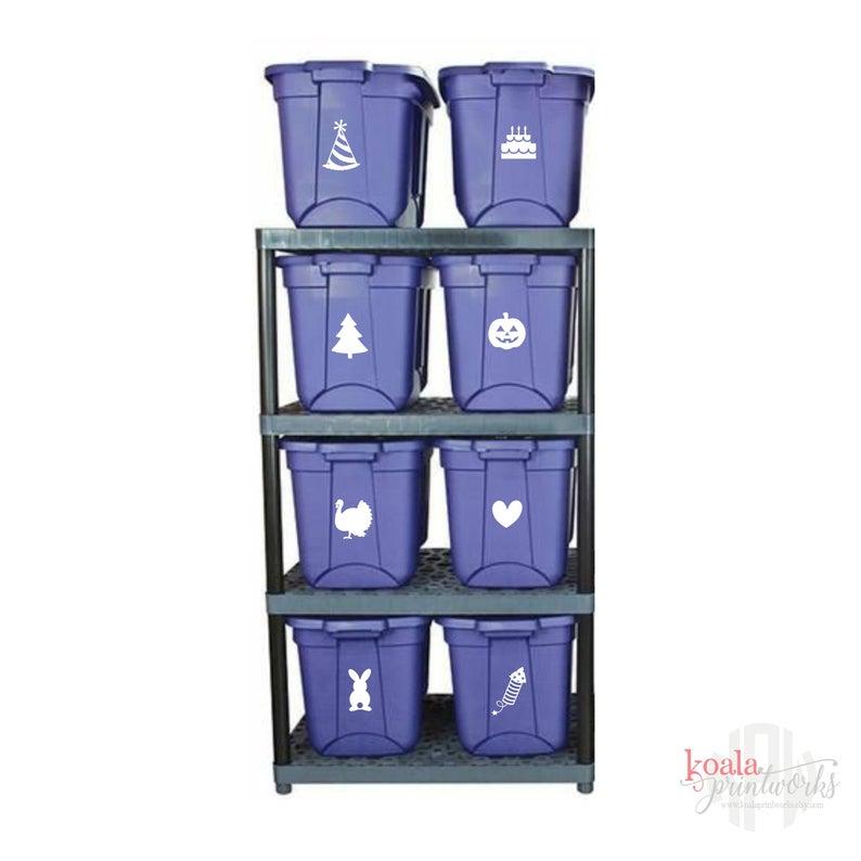 Storage Bin Decal Holiday Storage Label Large Storage Tote
