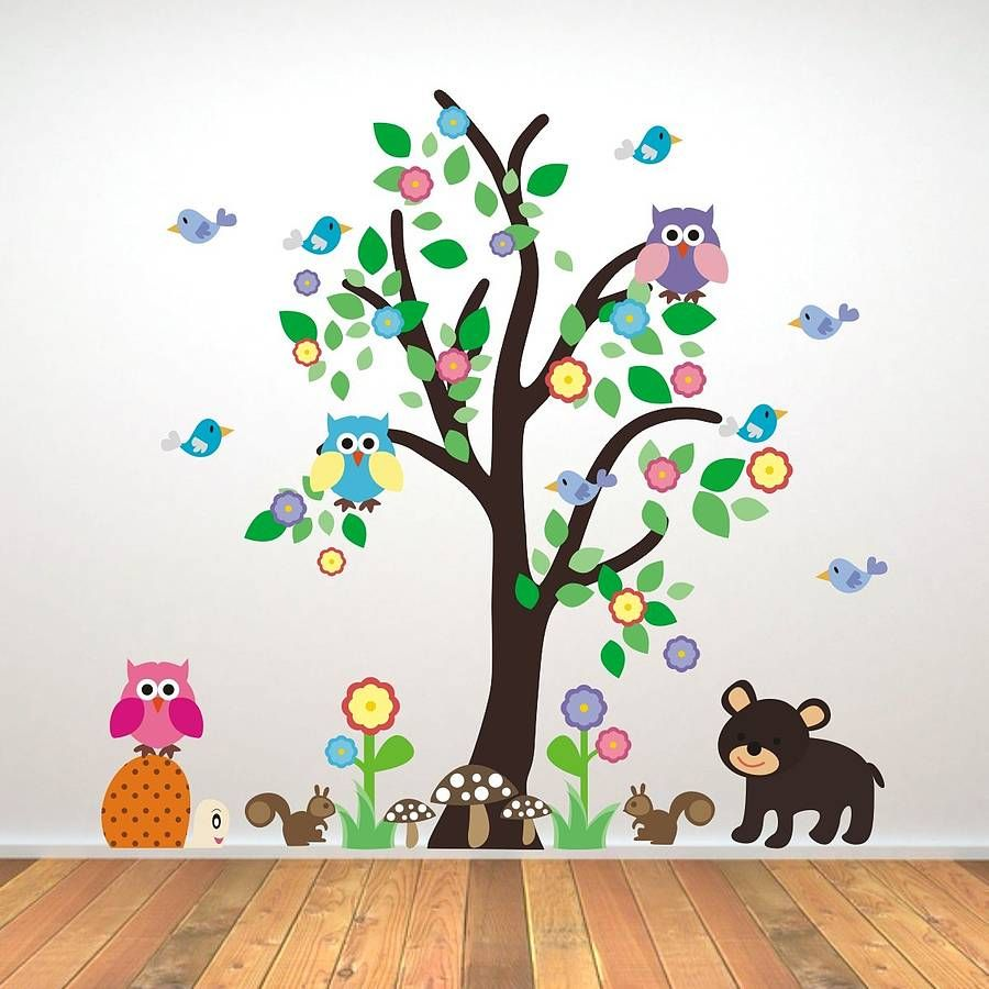 Kids bedroom woodland tree wall sticker wall sticker for Wall decals kids room
