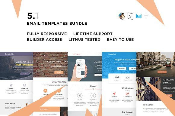 5 Email templates bundle I + Builder by ThemesCode on - business email template
