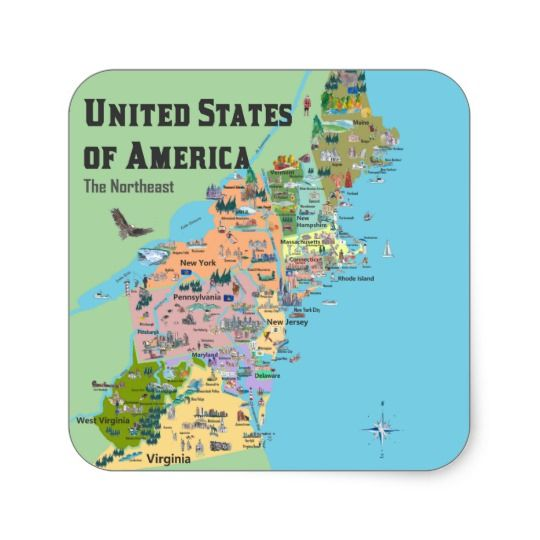 USA Northeast States Map Square Sticker in 2018 | Stickers ...