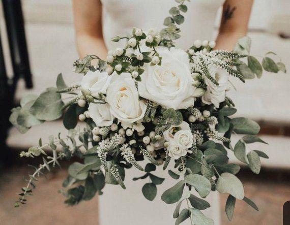 Ivory bouquet, bridal bouquet, wedding bouquet, greenery bouquet, brides bouquet, wedding flowers