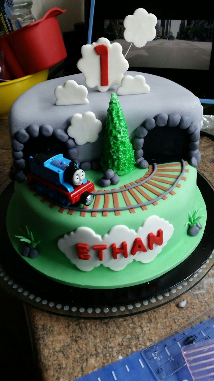 Fondant Thomas The Train Engine Birthday Cake With Track And Tunnel