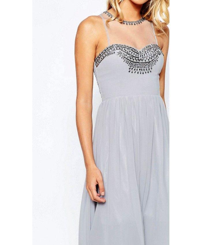 Little Mistress luxusní šedé šifónové šaty  08fb6739e6