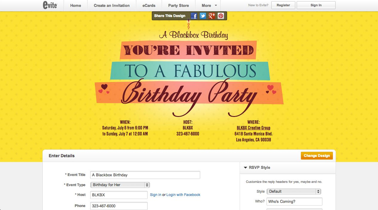 Throwing A Party For Her Send One Of The Invitations I Produced Evite