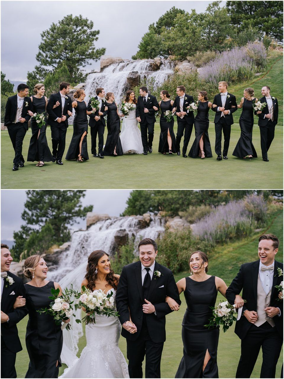 Sanctuary Golf Course Wedding Party In Black Dresses And Tux Golf Course Wedding Photos Black Bridal Parties Golf Course Wedding [ 1281 x 960 Pixel ]