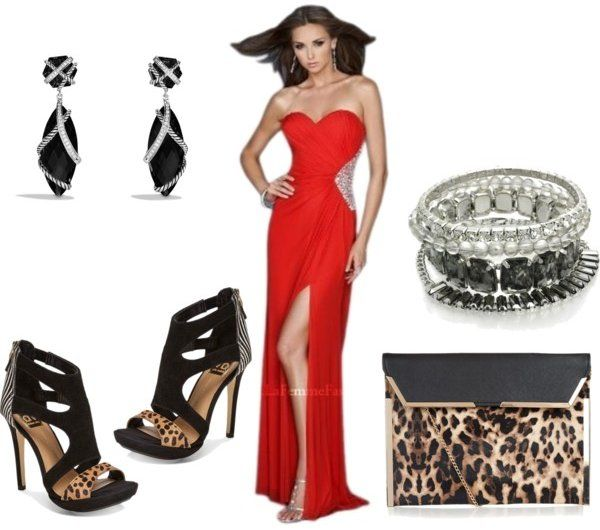 Accessorizing Long Strapless Red Prom Dress With Black Leopard