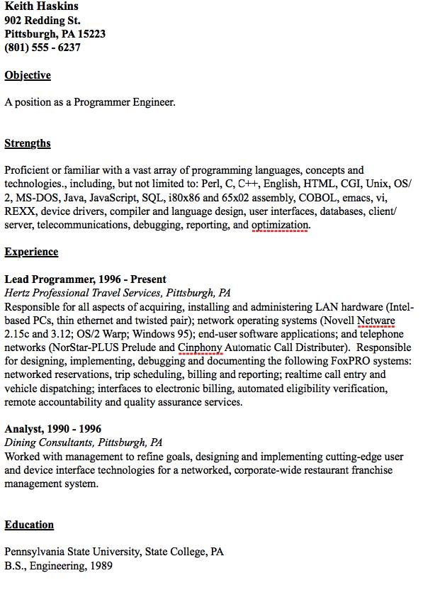 Example Of Programmer Engineer Resume - http://resumesdesign.com ...