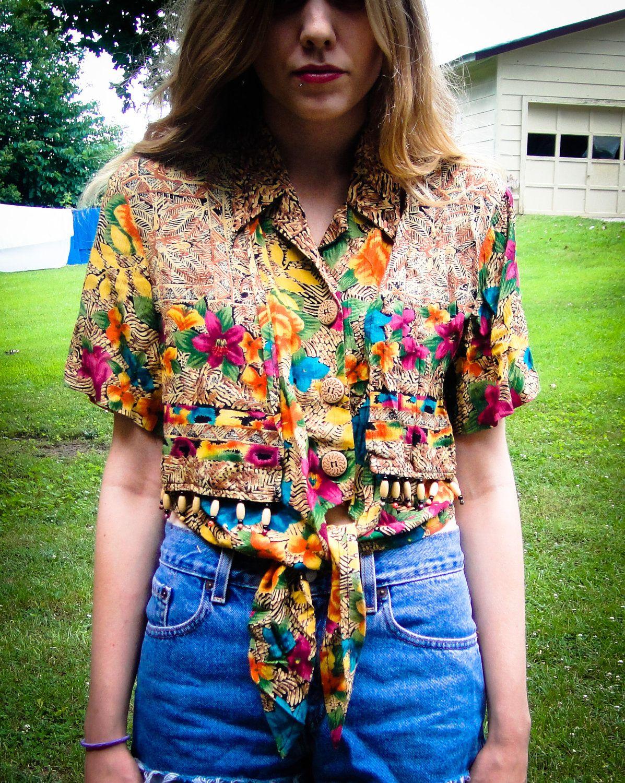 Vintage Women S Multi Yellow Hawaiian Button Up Tie Up