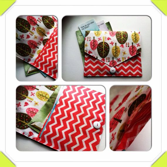 Magazine Clutch, 2 pockets, Chevron and apple tree clutch on Etsy, $20.00