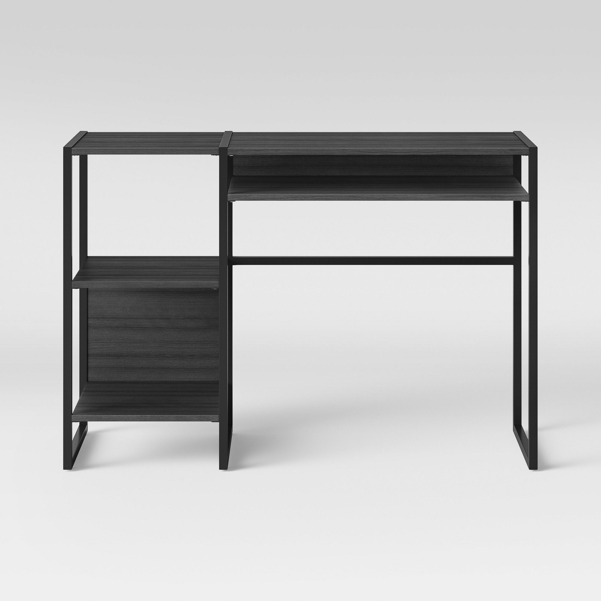 Paulo Wood Writing Desk With Storage Weathered Smoke Gray Project 62 Wood Writing Desk Desks For Small Spaces Apartment Desk