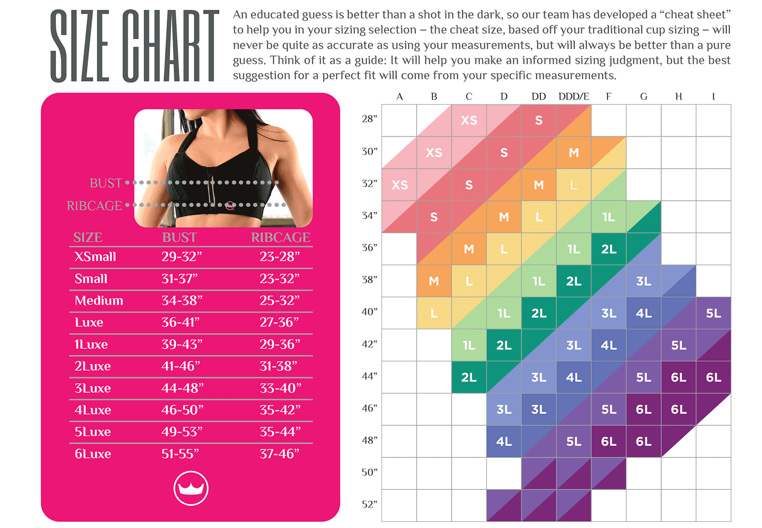 Image result for sports bra size chart