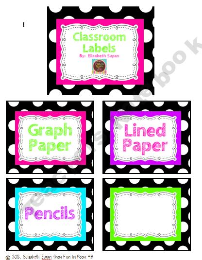 Black and White Polka Dot Classroom Labels Freebie