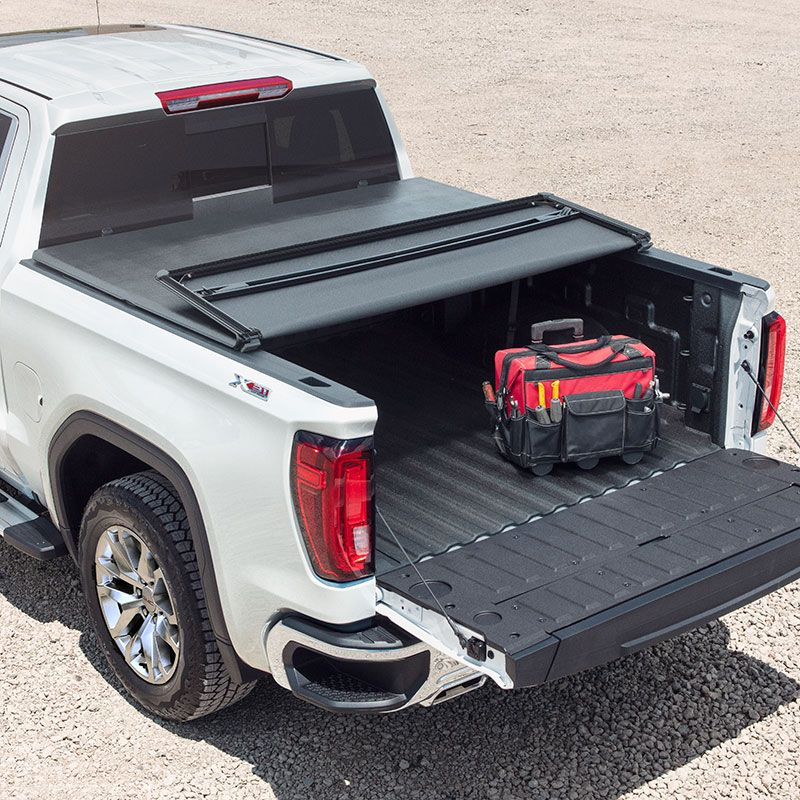2019 Sierra 1500 Tonneau Cover Soft Tri Fold Black Short Bed Without Logo 19416976 Tonneau Cover Gmc Accessories Sierra 1500