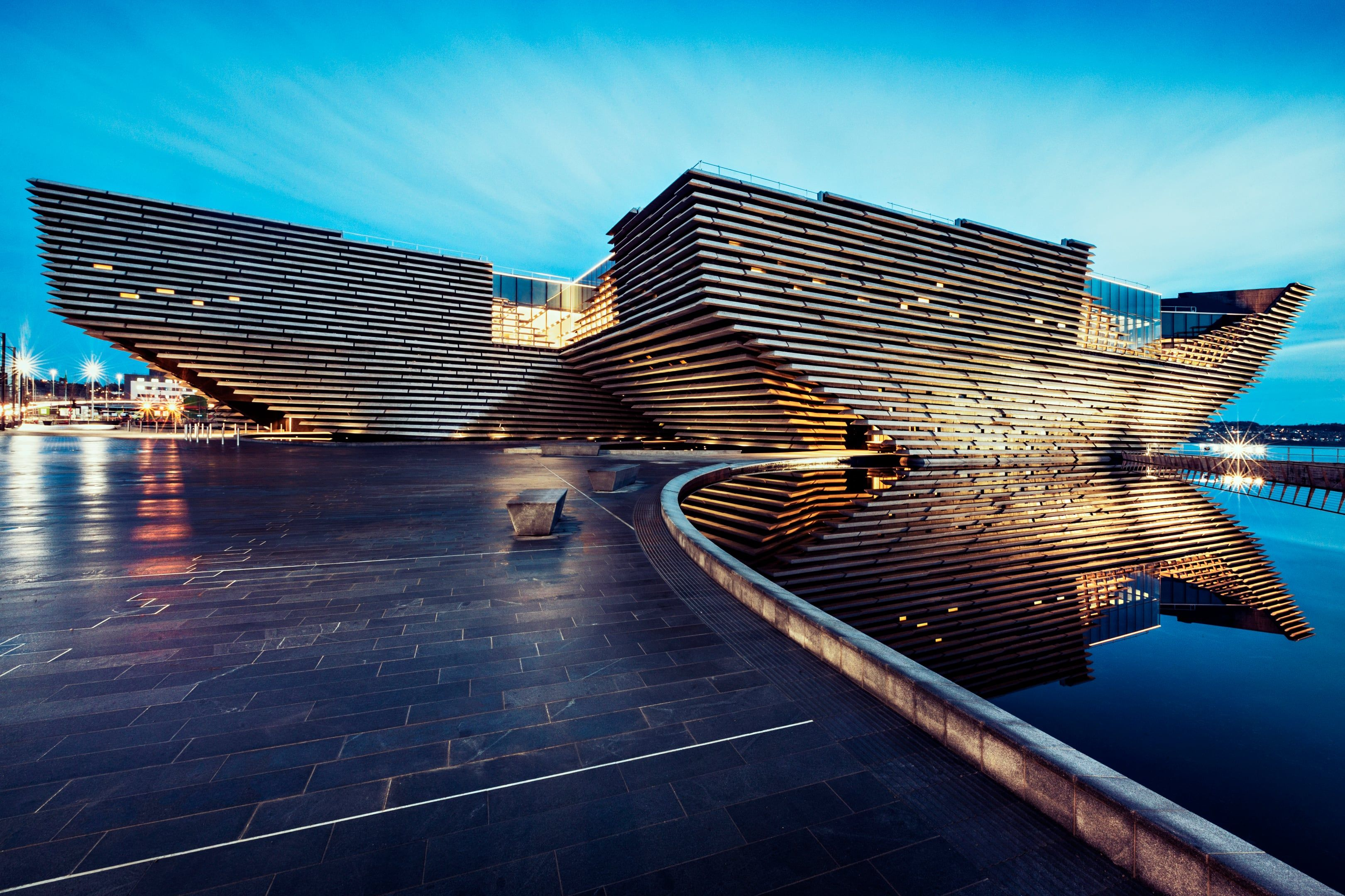drone footage of kengo kuma's V&A museum of design, dundee