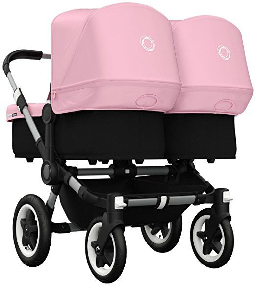 Bugaboo Donkey Twin Stroller Bundle Soft Pink Aluminum Base Twin Strollers Bugaboo Donkey Twin Bugaboo Stroller