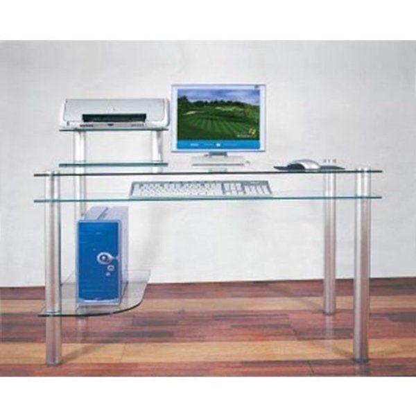 Madison Clear Glass Computer Desk Amazon Office Products Glass Computer Desks Chic Computer Desk Glass Desk