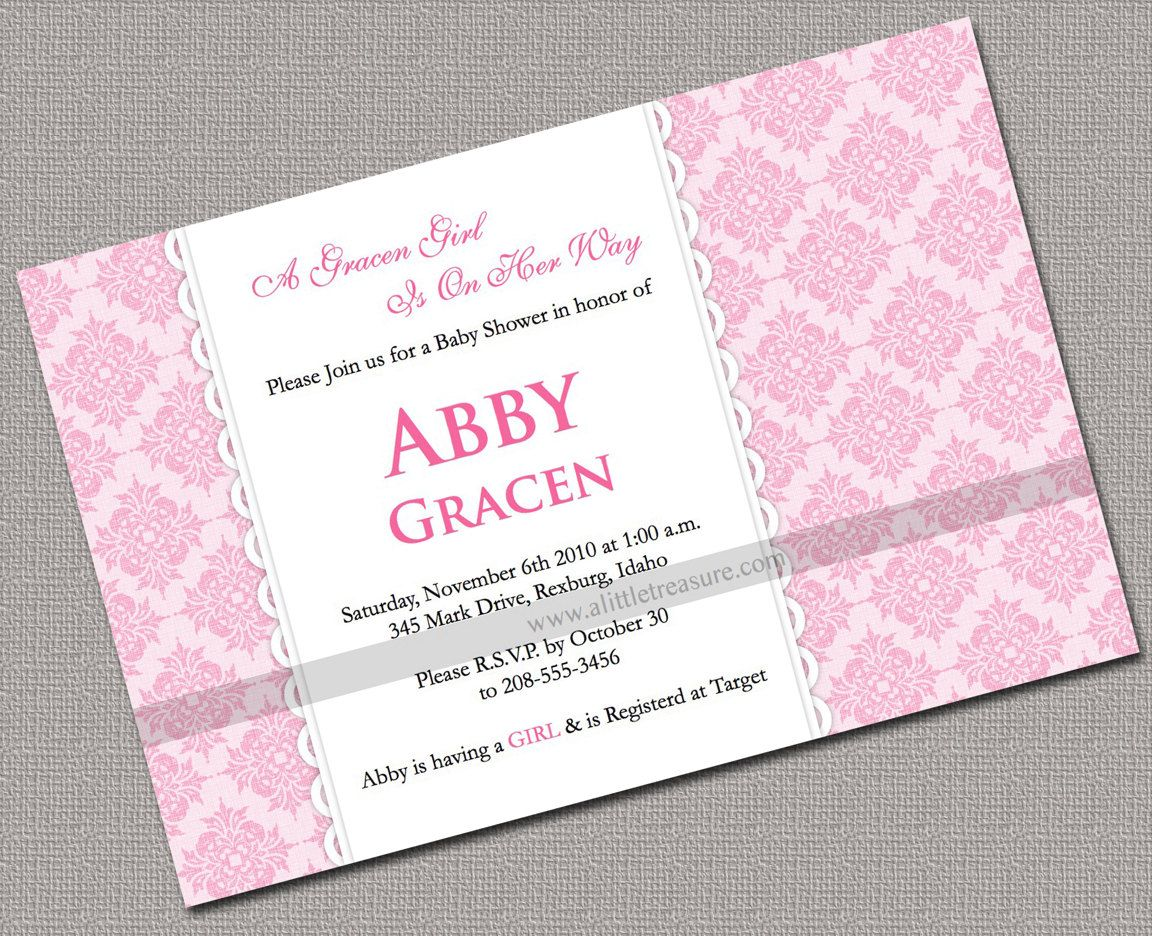 Custom Printable Baby Shower Invitations Girl, Pink, Damask - 702 ...