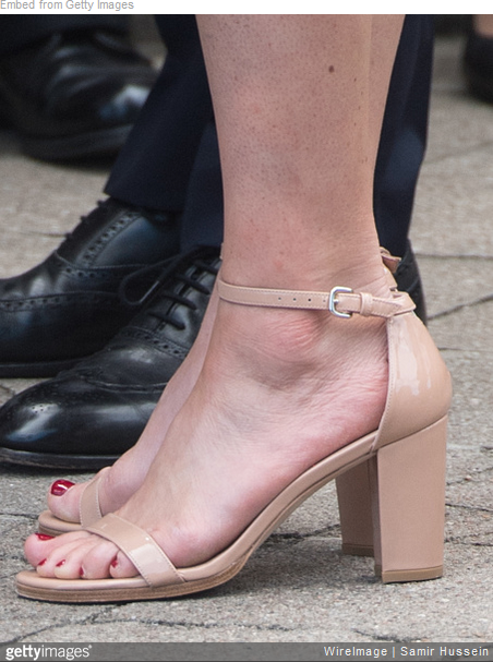 e0fa22edfbd4 Kate wore the Stuart Weitzman  NearlyNude  Patent Ankle Strap Sandals  during her visit to the Stutthof concentration camp during an official  visit to Poland ...