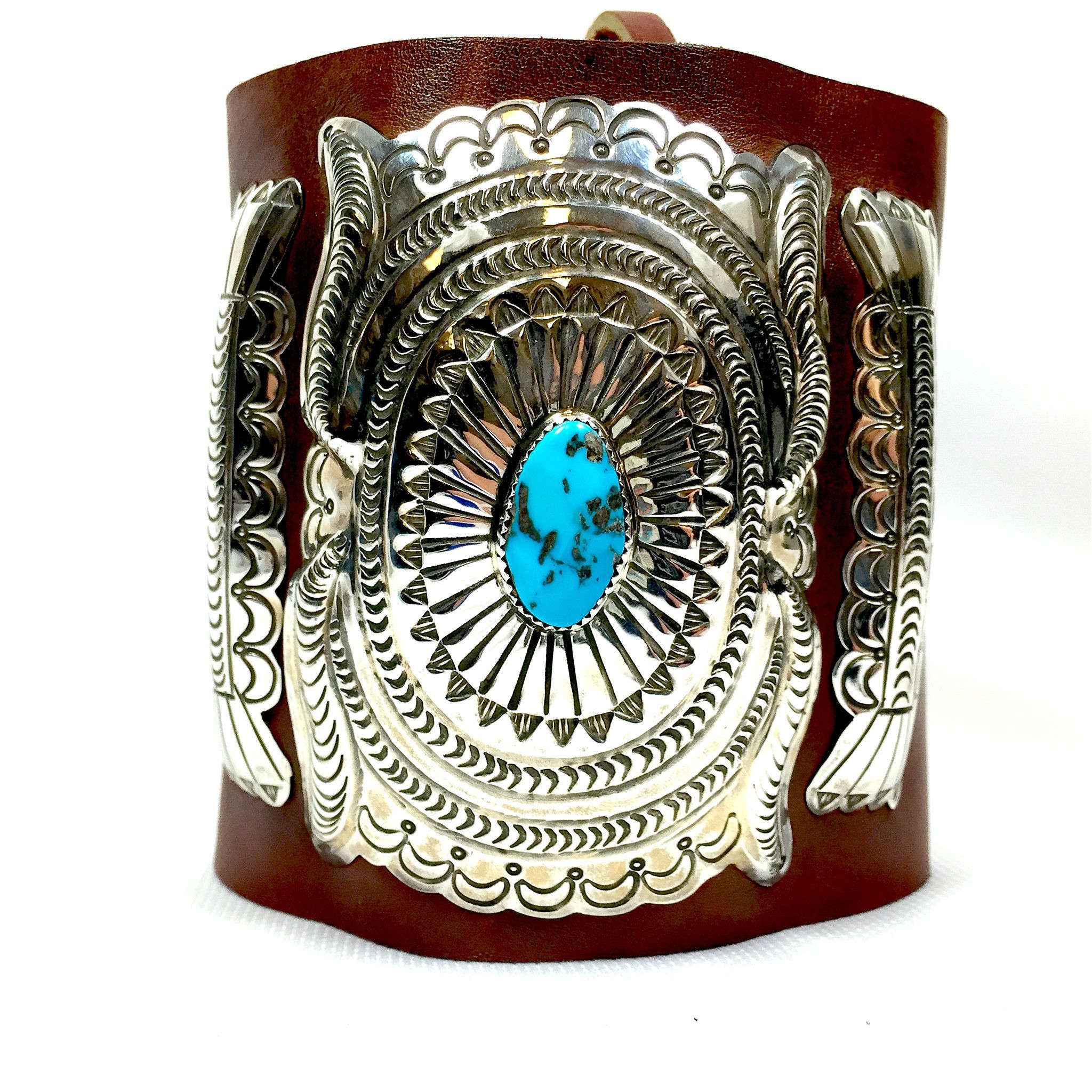 Leather Navajo Cuff with Sleeping Beauty Turquoise