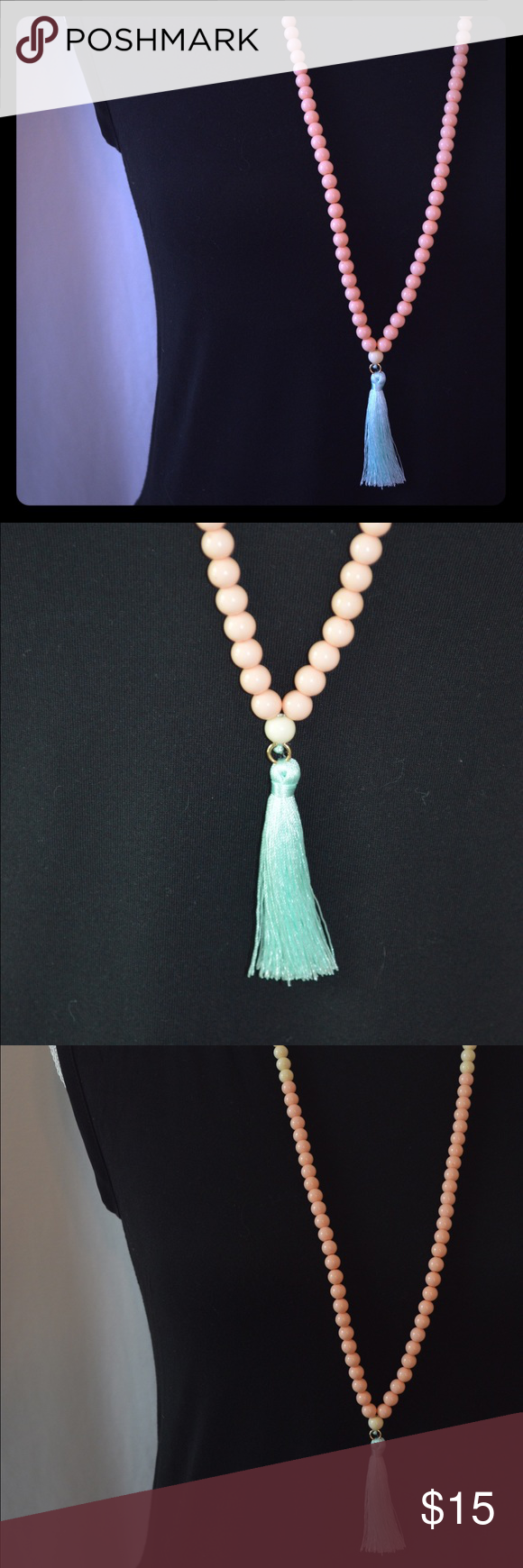 Cream & Blush Pink Beaded Necklace w/ Blue Tassel Beautiful beaded necklace with cream & blush pink beads with a light blue silk tassel at the bottom. Magnolia & Scout original - one of a kind!! Brand new, awesome quality!! ☀️ Check out my website -> www.magnoliaandscout.com ☀️ Magnolia & Scout Jewelry Necklaces