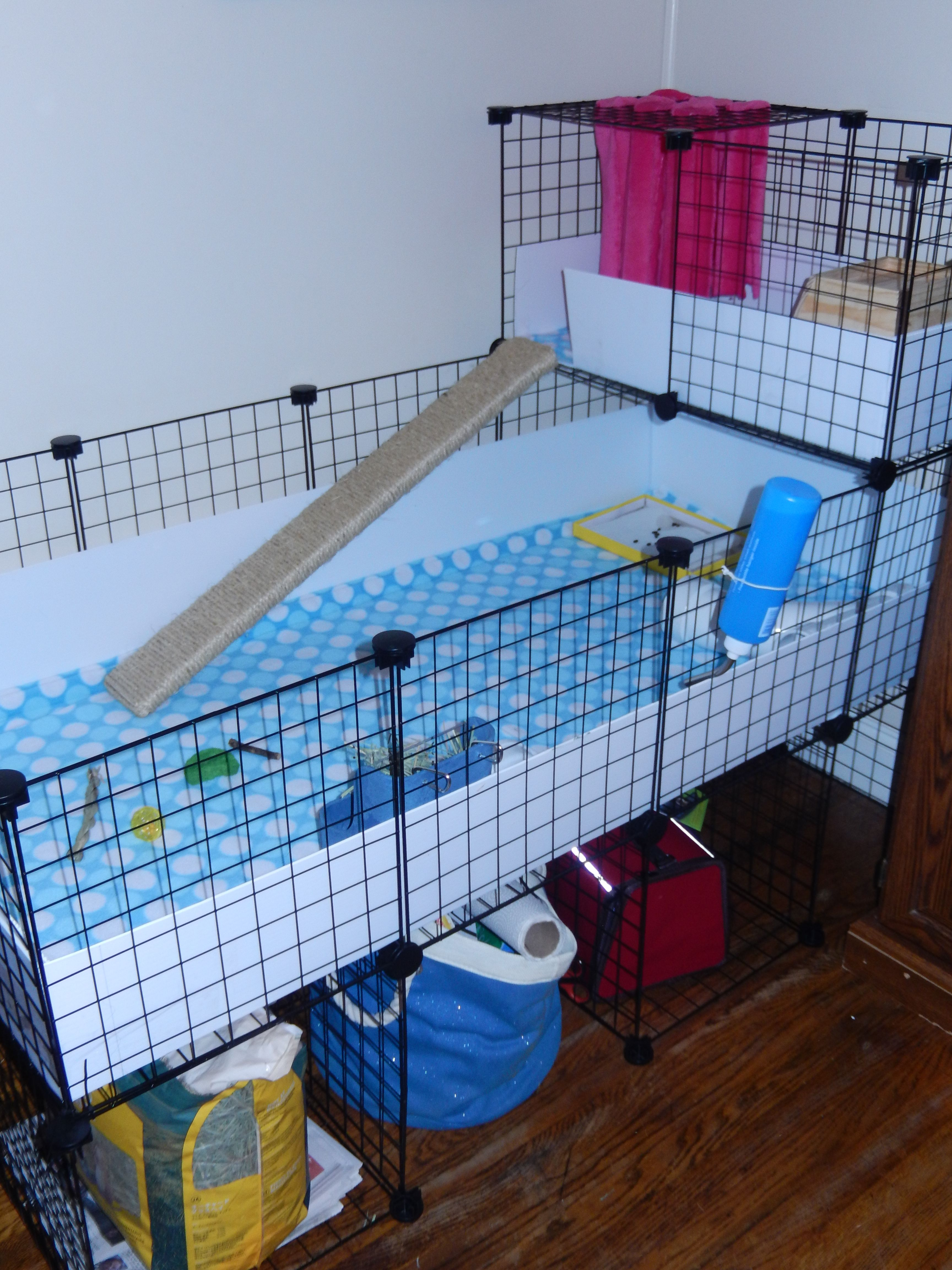 My super hubby built this fabulous c&c cage, and I made the fleece ...