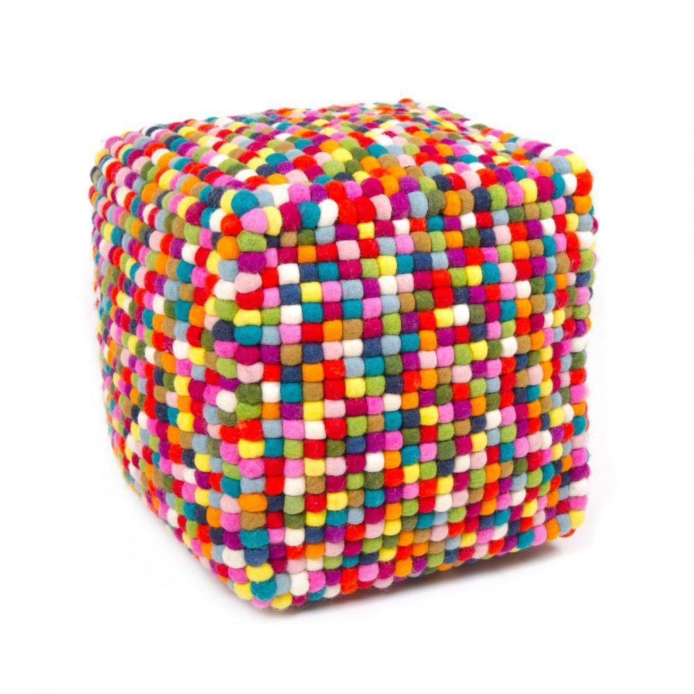 multi colored cube felt ball ottoman pouf this is a stunning  - multi colored cube felt ball ottoman pouf this is a stunning designermulticolored cube felt