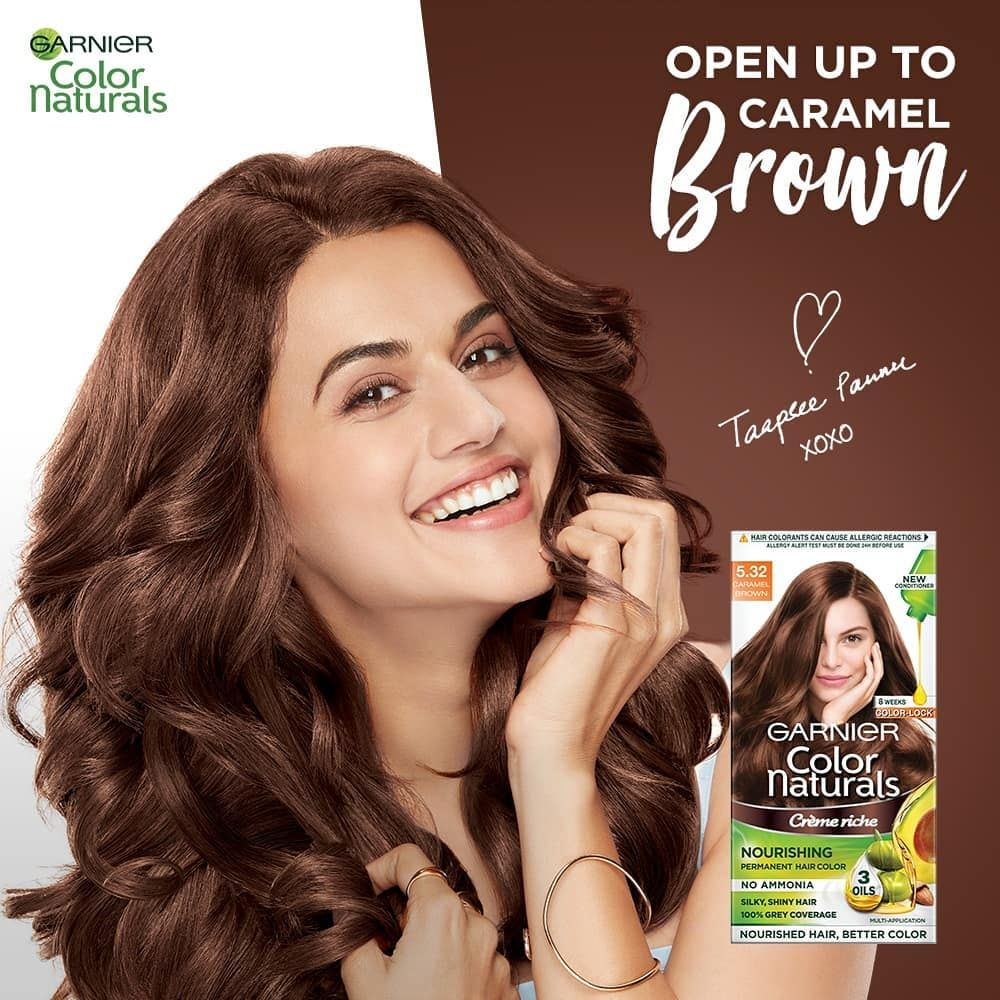 Love Is In The Hair Taapsee Has Found Her Perfect Caramel Brown Hair Color From Garnier Caramel Brown Hair Caramel Brown Hair Color Garnier Hair Color Brown