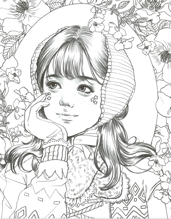Girls With Poem By M O M O Girl Girls Coloring Book By Momo Etsy Coloring Books Cute Coloring Pages Coloring Pages