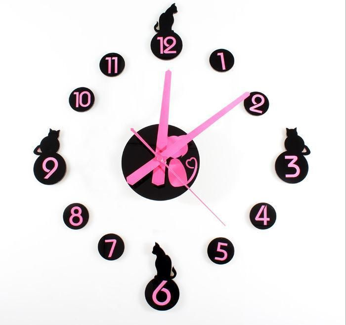 New Diy 3d Rosa Hallo Kitty Wanduhr Modern Home Decor Wohnzimmer - wanduhr modern