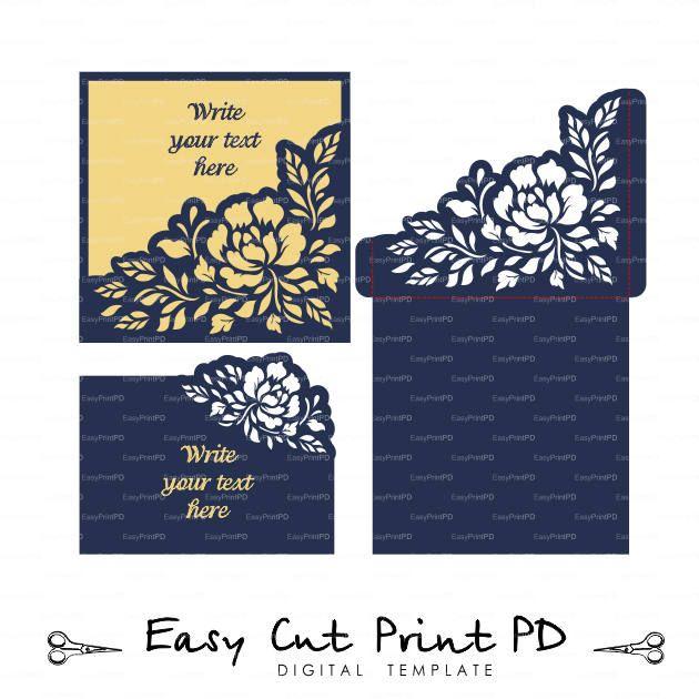 Set Invitation Envelope Peony Flower Rswp Wedding Card Template
