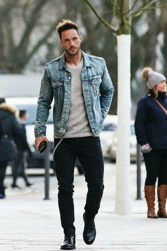 Resultado de imagem para moda masculina jaqueta jeans