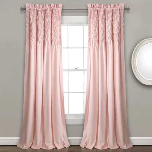 Elzira Solid Color Semi Sheer Rod Pocket Curtain Panels Panel