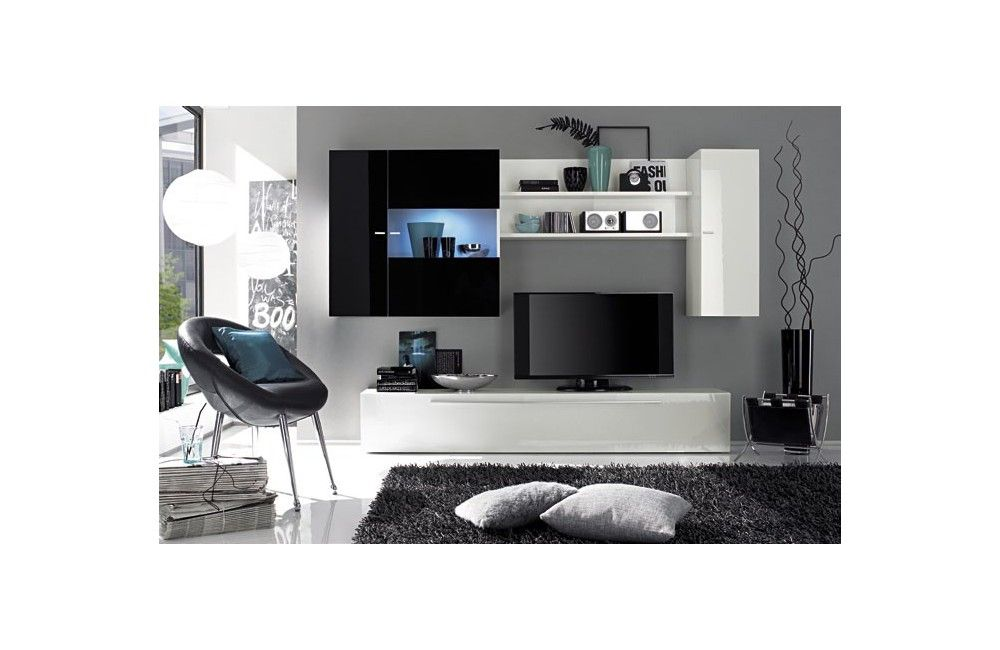 Meuble noir et blanc laqu moderne et design d co meuble noir et blanc mobilier de salon for Meuble de salon noir