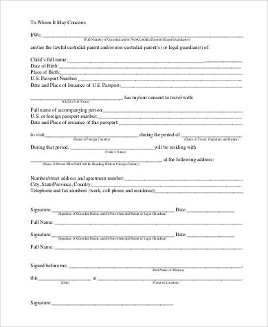 letter consent for travel minor child passport application - child travel consent form usa