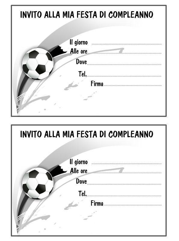 Biglietto Invito Pallone Mod Soccer Sports Party Nel