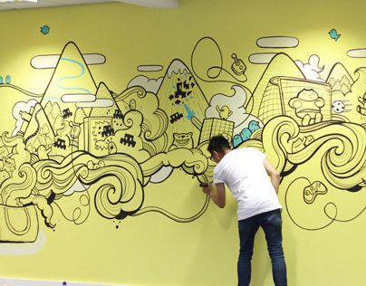 Pin by Likun Zhang on LOVE-插画等   Pinterest   Office mural, Sumo ...
