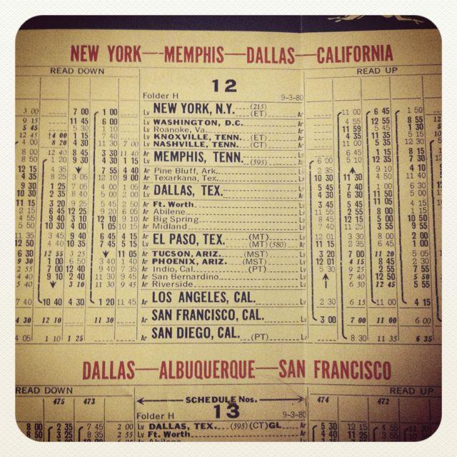 1970's Greyhound schedule, coast to coast. Thanks Deptford Market
