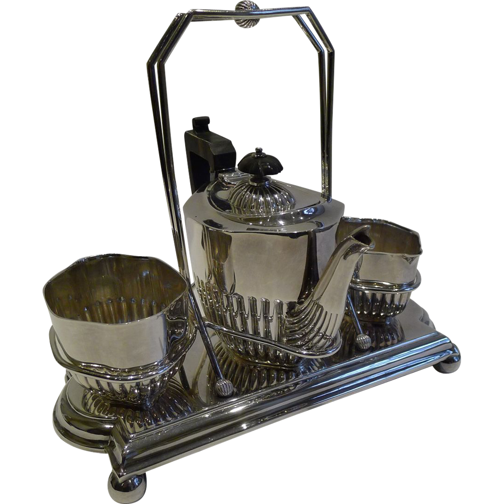 Charming Antique Bachelor Tea Set In Stand by J Sherwood & Sons c.1900