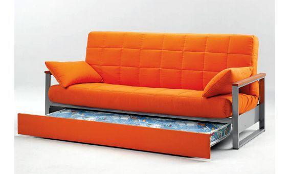 Sofa cama con cama nido sofa cama tapizado en tela de color naranja sof s cama sofa bed - Tela tapizado sofa ...