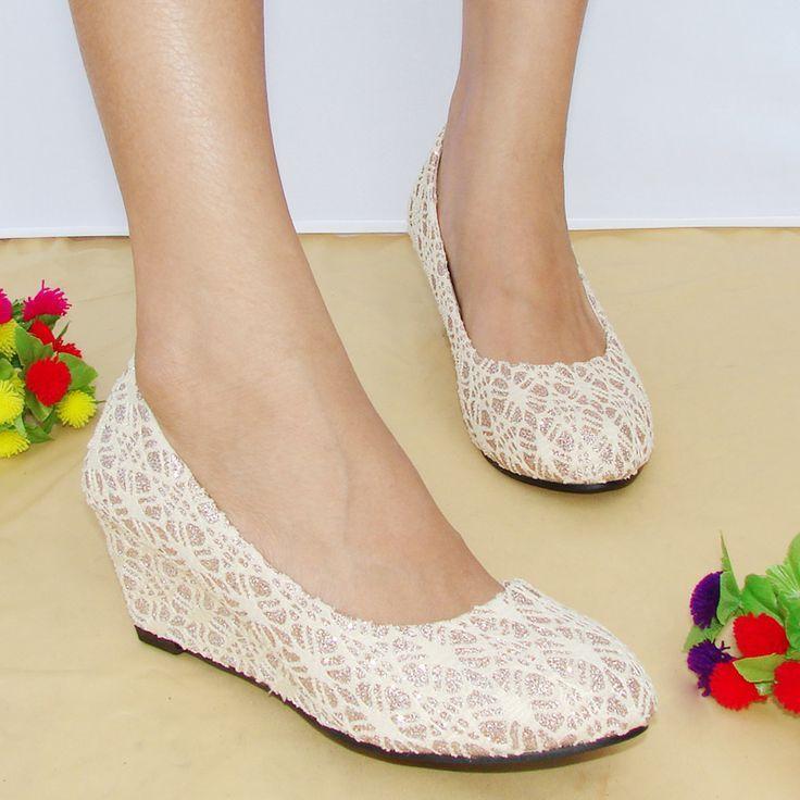 Wedding Lace Wedge Wedge Wedding Shoes Bridal Shoes Wedges Bridesmaid Shoes