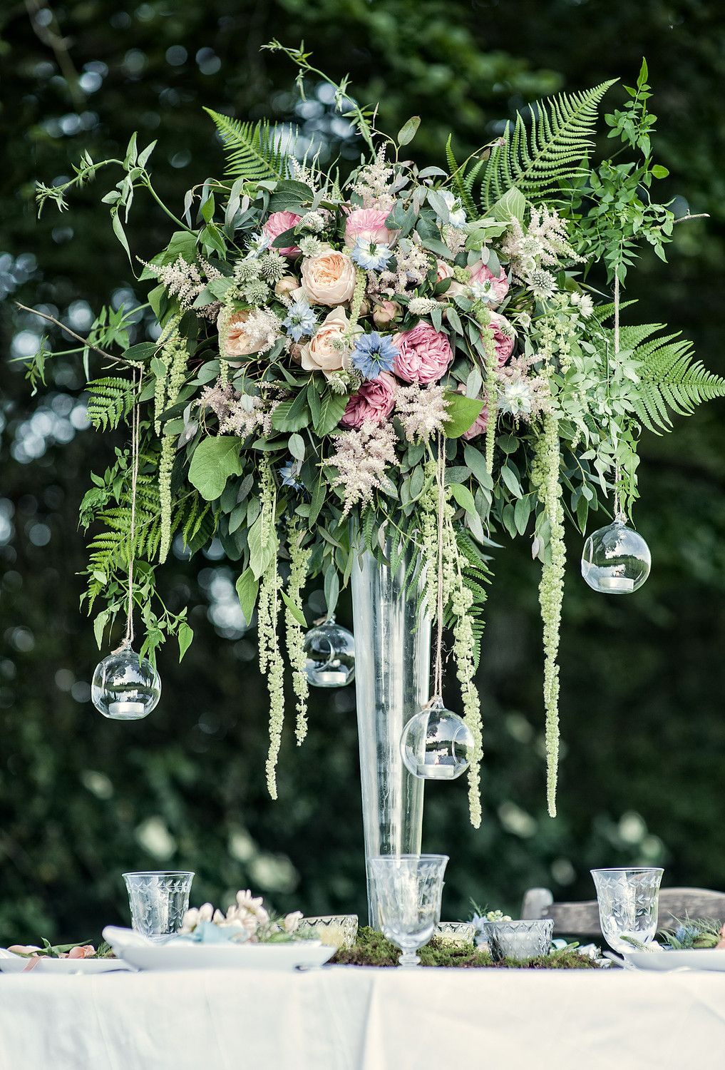 Large Wildflower Centrepiece With Hanging Glass Baubles For