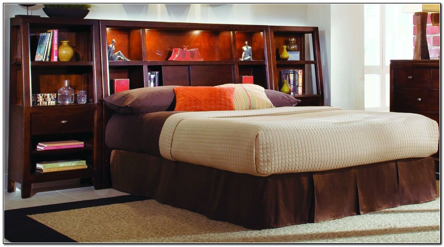 King Size Storage Bed With Bookcase Headboard King Size Bed