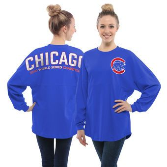 online retailer b2918 296c7 Chicago Cubs Women's Royal Oversized Long Sleeve Ombre ...