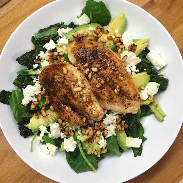 Chicken Breast With Kale Spinach Feta Cheese Avocado Pine Nuts