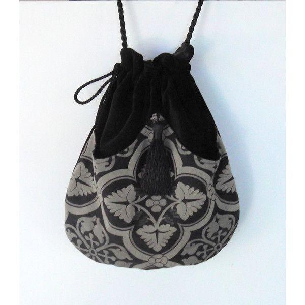 Bag Drawstring Black Renaissance Medallion Tapestry Bag Black Velvet... ($40) ❤ liked on Polyvore