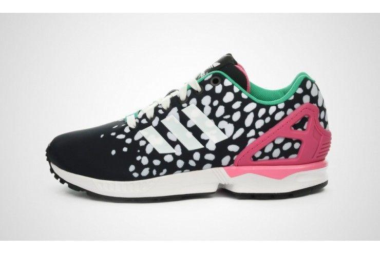 Dames Adidas Originals ZX Flux Running schoenen zwart wit ...